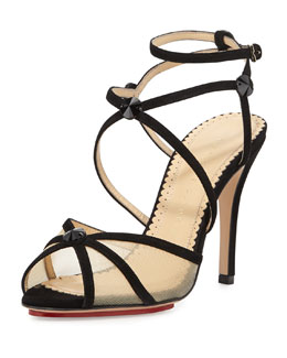 Charlotte Olympia Isadora Strappy Suede Sandal, Black