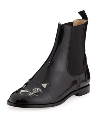 Sale alerts for Charlotte Olympia  Cat-Face Leather Chelsea Boot  - Covvet