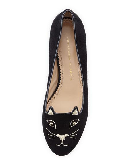 Kitty Cat-Embroidered Stud-Heel Flat, Black