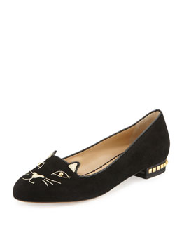 Charlotte Olympia Kitty Cat-Embroidered Stud-Heel Flat, Black