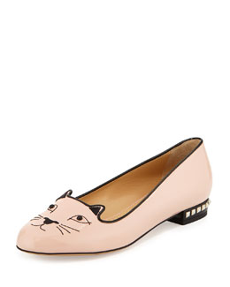 Charlotte Olympia Kitty Cat-Embroidered Stud-Heel Flat, Nude