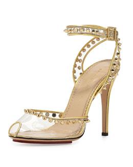 Charlotte Olympia Soho Studded PVC Ankle-Wrap Sandal