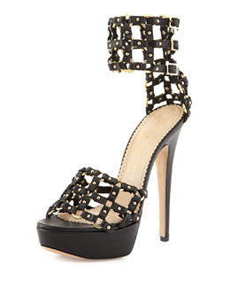Charlotte Olympia Xena Triple-Buckle Leather Platform Sandal, Black