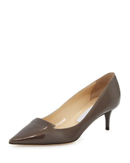 Jimmy Choo Allure Patent Pointed-Toe Loafer Pump, Gray