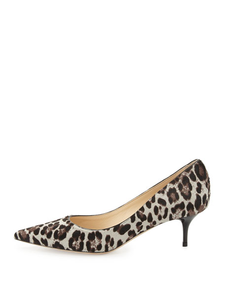 Aza Low-Heel Leopard-Print Calf Hair Pump