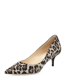 Jimmy Choo Aza Low-Heel Leopard-Print Calf Hair Pump
