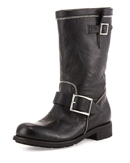 Jimmy Choo Dakar Double-Buckle Zip Boot, Black