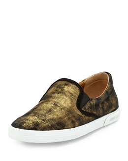 Jimmy Choo Demi Shimmer Suede Slip-On, Gold