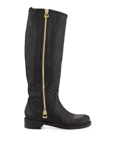 Doreen Flat Zip Knee Boot