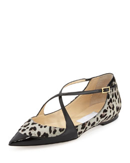 Jimmy Choo Gamble Crisscross Ballerina Flat with Leopard-Print Calf Hair