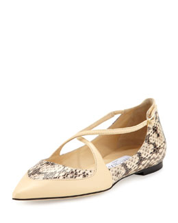 Jimmy Choo Gamble Crisscross Snake Ballerina Flat, Off White