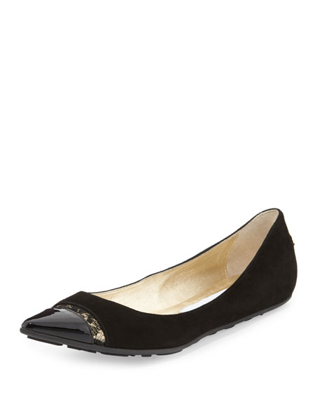 Ginny Pointed-Toe Ballerina Flat with Lace, Black