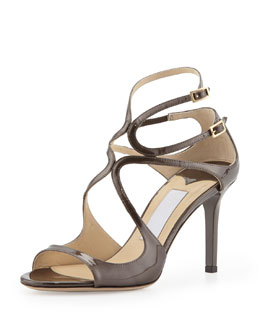 Jimmy Choo Ivette Crisscross Patent Leather Sandal, Gray