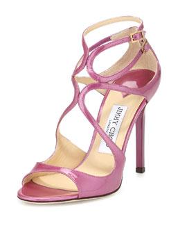 Jimmy Choo Lang Shimmer Patent Strappy Sandal, Jazzberry