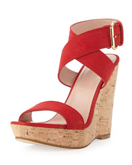 Stuart Weitzman Xray Suede Cork Wedge, Red (Made to Order)