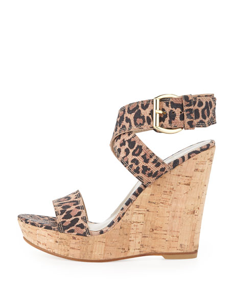 Xray Leopard-Print Suede Cork Wedge