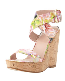 Stuart Weitzman Xray Floral Python Cork Wedge, Rose (Made to Order)