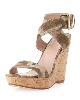 Stuart Weitzman Xray Linen Cork Wedge, Tan Camo (Made to Order)