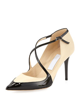 Jimmy Choo Madera Crisscross Point-Toe Pump, Nude/Black