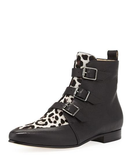 55d9253cc50 Jimmy Choo Marlin Buckled Leopard-Print Ankle Boot