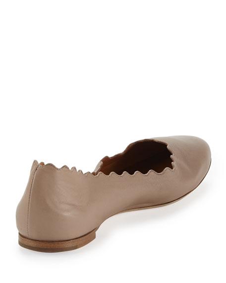 Scalloped Leather Ballerina Flat, Skin Beige