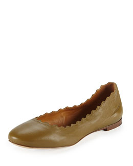 Chloe Scalloped Leather Ballerina Flat, Military Gray