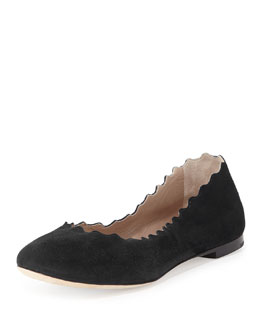 Scalloped Suede Ballerina Flat, Black