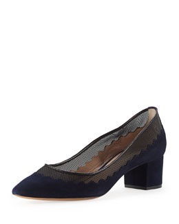 Chloe Suede Scalloped Mid-Heel Pump, Navy