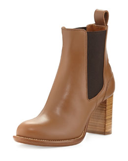 Chloe Leather Ankle Boot, Light Tan