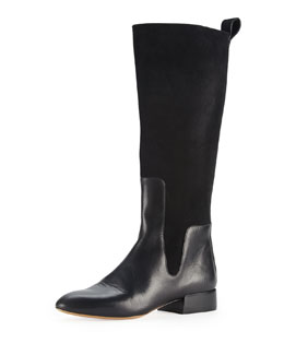 Chloe Leather & Suede Knee Boot, Black