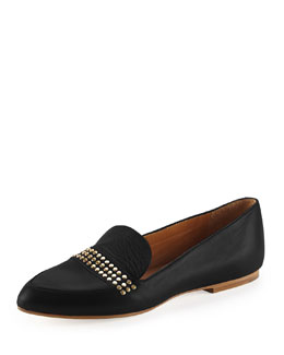 Chloe Leather Studded Loafer, Black