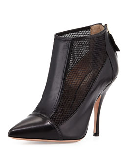 Giorgio Armani Leather Point-Toe Mesh Bootie, Black