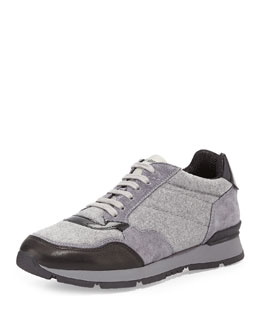 Giorgio Armani Flannel Lace-Up Sneaker, Black