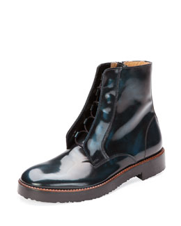 Maison Martin Margiela Brushed Leather Ankle Boot, Blue