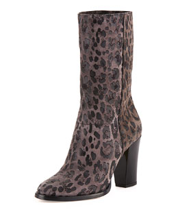 Jimmy Choo Music Leopard-Print Suede Ankle Boot, Gray