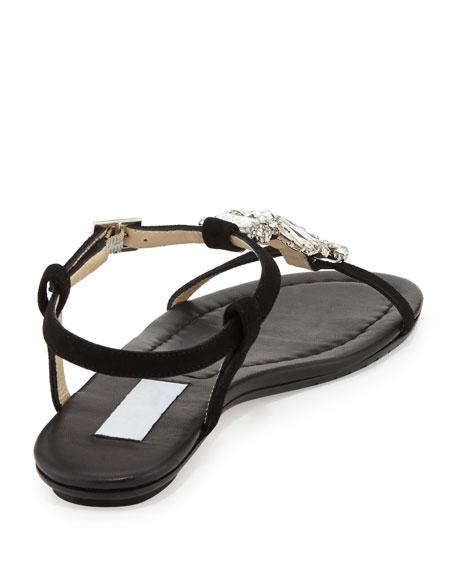 Night Jeweled Suede Sandal, Black