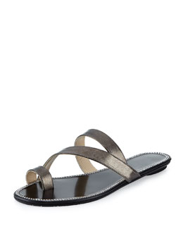 Jimmy Choo Noosa Strappy Metallic Slide, Anthracite