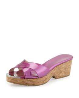Jimmy Choo Panna Patent Crisscross Slide Sandal, Jazzberry