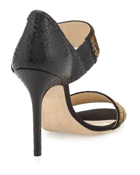 Tallow Sequined Snakeskin Sandal, Black/Gold