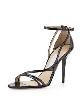 Jimmy Choo Valdez Strappy Patent Sandal, Black