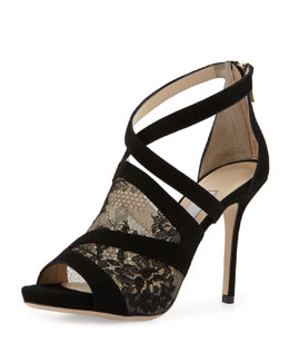 Jimmy Choo Virion Lace-Inset Glove Sandal