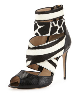 Paul Andrew Shirin Animal-Print Calf Hair Sandal, Black/White