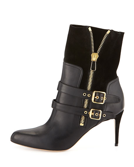 Clio Double-Buckled Ankle Boot, Black