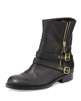 Paul Andrew Sabrina Double-Buckle Ankle Boot, Black