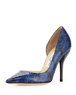 Jimmy Choo Willis Snake Half d'Orsay Pump, Blue