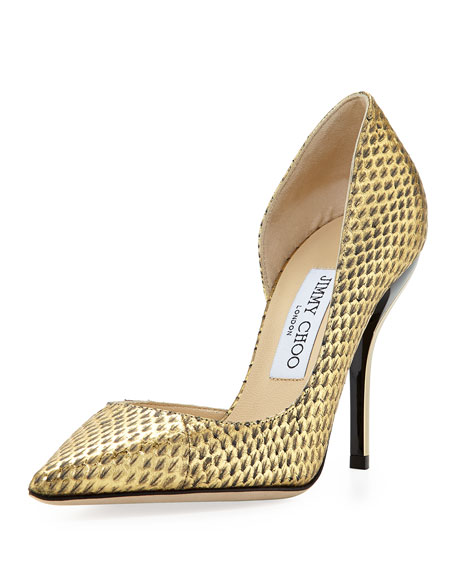 Willis Snake Half d'Orsay Pump, Gold