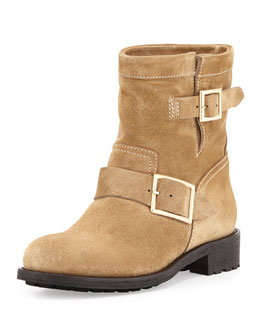 Jimmy Choo Youth Suede Biker Boot, Sand