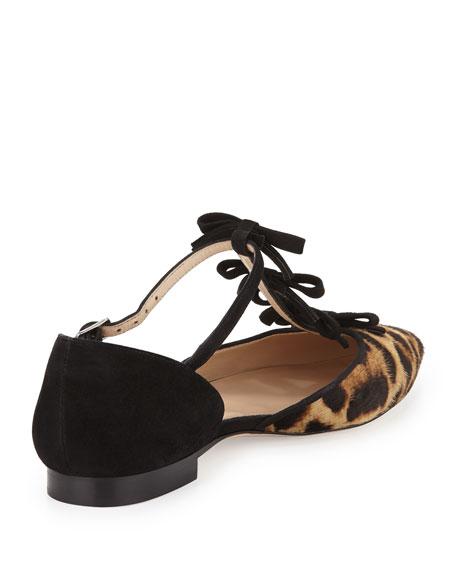 Evelyn Point-Toe Calf Hair Bow Flat, Leopard