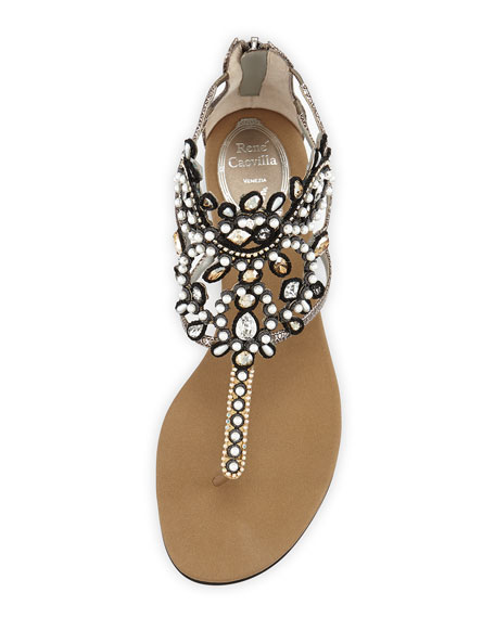 Crystal Caged Thong Sandal, Bronze