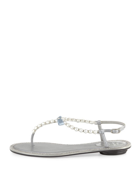 Pearly & Crystal Flat Thong Sandal, Silver